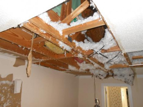 Damage from frozen attic supply lines