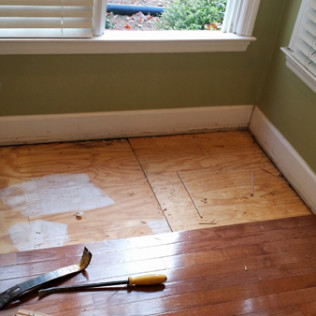 In the process of pulling up the flooring that was damaged by water